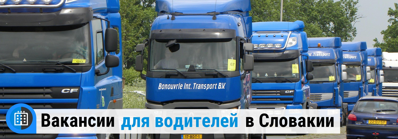 вакансии для водителей СЕ грузовиков в Словакии